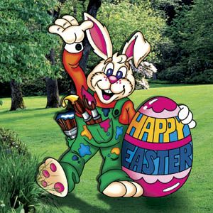 Easter bunny artist yard art woodworking pattern crafts for Wood lawn ornament patterns