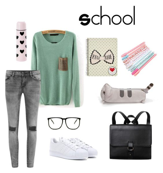 """""""School"""" by bocayn on Polyvore featuring VILA, adidas, Monki and Bando"""