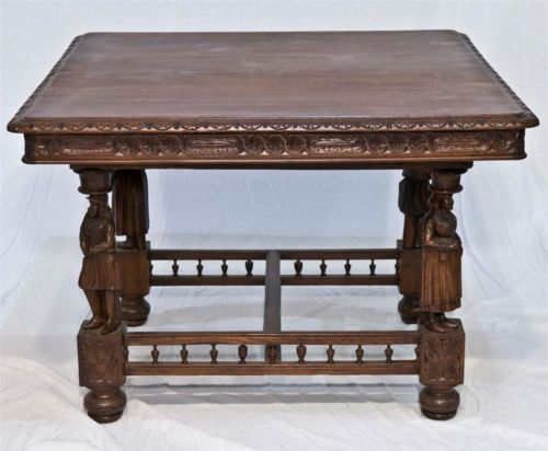 French Breton Dining Table With Carved Figures And Fully
