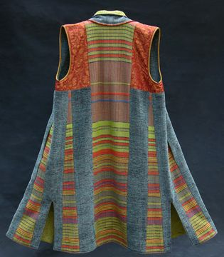 """Lynn Yarrington, New Haven, Vermont -USA says """"Each garment is handwoven individually on Macomber floor looms, dressed with rayon, silk, cotton and chenille yarns and incorporates a variety of techniques and colors ranging from rich neutrals to vibrant jewel tones. Garment shapes range from fitted and tailored to relaxed and unstructured, each designed to move with ease, elegance and style with the complex lifestyles of women today."""""""