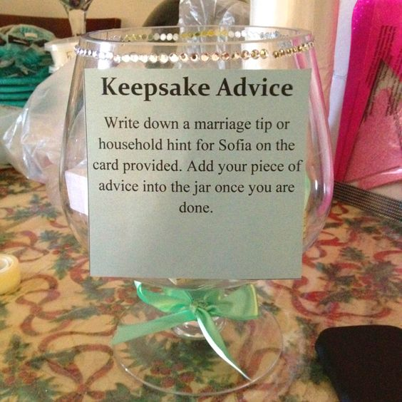 Keepsake advice cool idea for bridal showers or kitchen for Bridal shower kitchen tea ideas