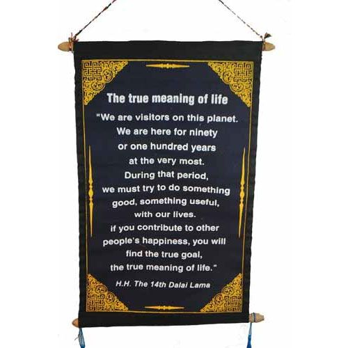 Fair Trade Dalai Lama Quotation Scroll Wall Hanging 47 X 23cm