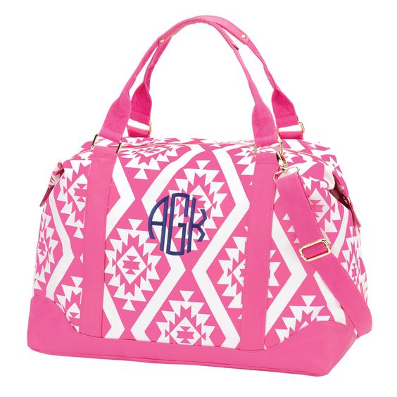 A personal favorite from my Etsy shop https://www.etsy.com/listing/229814994/weekender-bag-pink-aztec-large-duffle