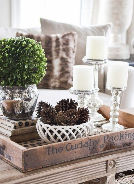 67 Rustic Tray Ideas To Style Your Coffee Table Decorating Coffee Tables White Decor Winter Home Decor