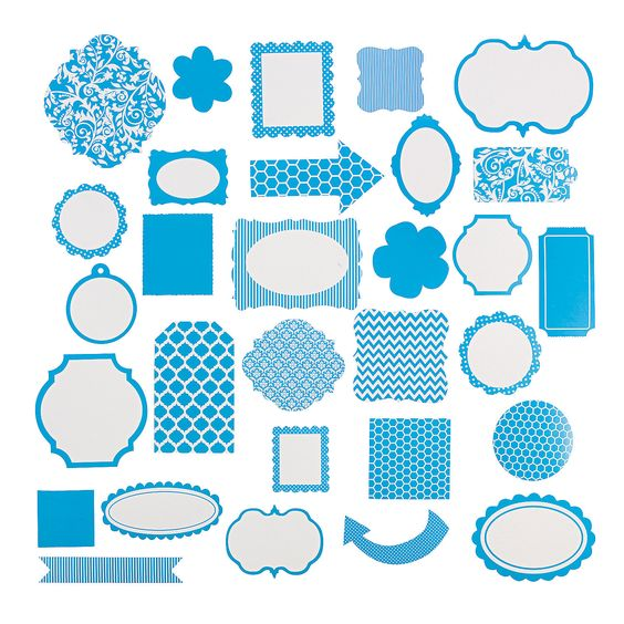 Turquoise Monochromatic Die Cut Shapes - OrientalTrading.com