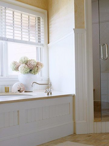 Paint Colors Bead Board Bathroom And White Wooden Blinds