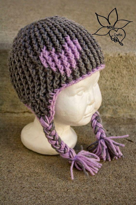 Free Crochet Pattern For Beanie Hat With Ear Flaps : Full of Love Ear Flap Beanie AllFreeCrochet.com Maggie ...