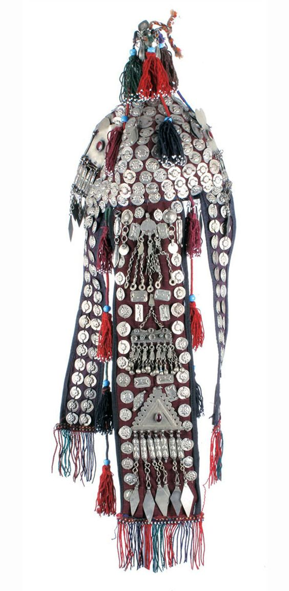 Afghan bridal headdress; embroidered cloth, with silver toned metal decoration, shells, beads and silver | 322$ ~ sold (Oct '10)