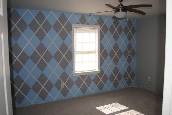 argyle boy's nursery! LOVE the blue & grey!