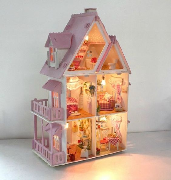 Free Shipping Wooden House Toy DIY Sunshine Alice Dollhouse, Kids Educational Assembly Model Kit With Furnitures  $59.90