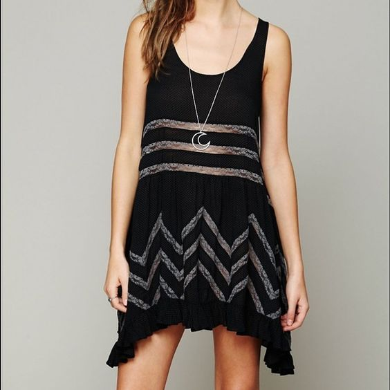 Free people black trapeze dress in small Used but great condition!!! Small black. Great cover up Free People Dresses Mini