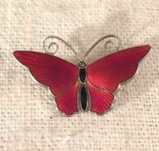 David Andersen Norway Vintage Sterling Silver Red Enamel Butterfly Pin