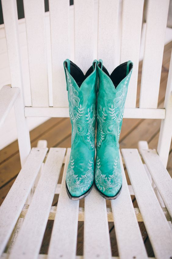 turquoise cowboy boots #brideboots #farmwedding #weddingchicks http://www.weddingchicks.com/2013/12/20/illinois-fall-wedding/