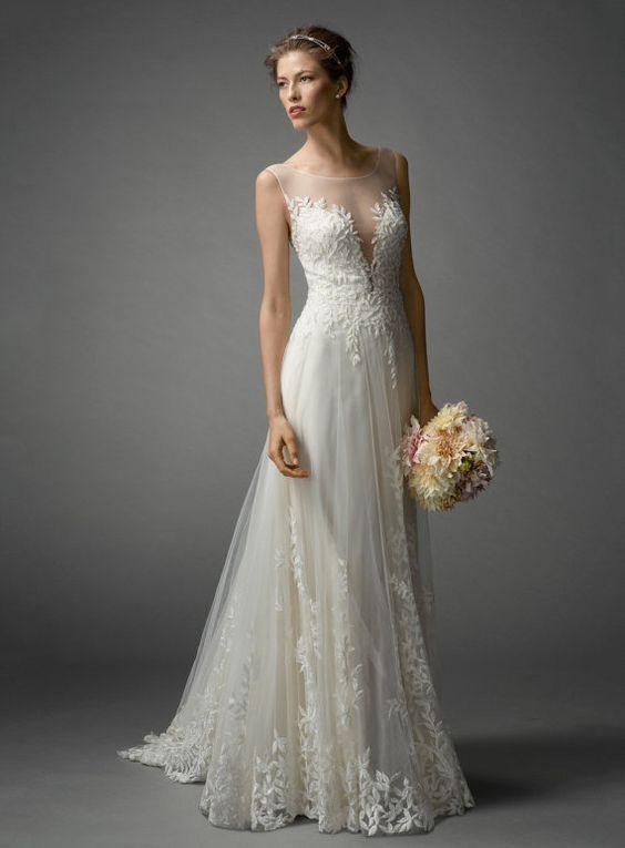 Ivory Romantic Wedding Dress Lace// Column Bridal by LeCasaDress