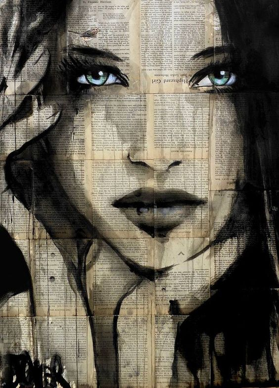 Cette peinture est superbe. Elle a un look vraiment original avec les écritures en arrière plan. J'ai l'impression que le peintre à peinturer directement par-dessus une feuille de journal. Les couleurs qu'il a agencé pour rendre cette jeune femme en valeur sont très jolie et je trouve que ses yeux sont d'un bleu ravissant qui fait mettre cette oeuvre en valeur. Cet artiste est d'un talent incroyable. Cette oeuvre est à la fois très simple mais d'une beauté pure.