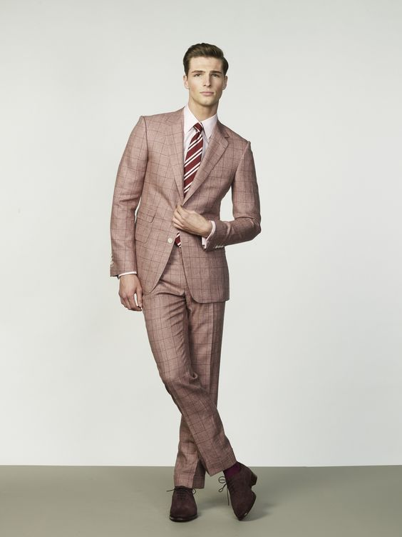 Red Windowpane Wool & Linen Suit with Pink Hand Cut Collar Shirt