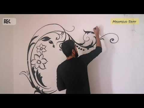 رسم استنسل على الحائط خطوة بخطوة كيفية رسم البنتير او الاستنسل رسم جدران Youtube Home Decor Decals Home Decor Decor