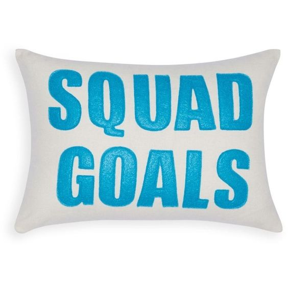 "Alexandra Ferguson Squad Goals Decorative Pillow, 10"" x 14"" (¥8,595) ❤ liked on Polyvore featuring home, home decor and throw pillows"
