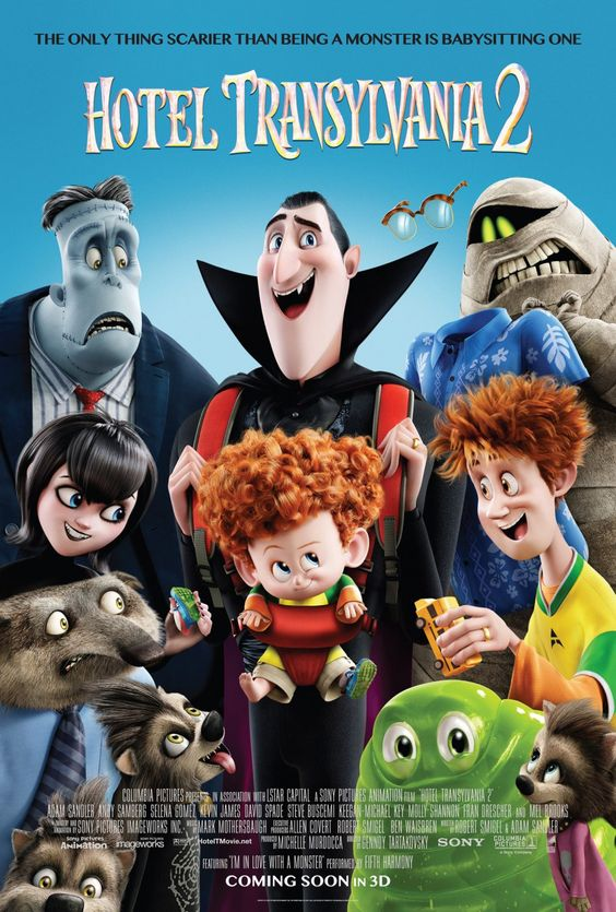 Hotel Transylvania 2 (2015) USA Sony / Columbia Animation horror. Voices: Adam Sandler (+co-sc,+co-exec. prod.), Selena Gomez, Andy Samberg, Kevin James, David Spade, Steve Buscemi, Molly Shannon, Fran Drescher, Molly Shannon, Mel Brooks, Dana Carvey, Jon Lovitz. (4/10) 21/2/16