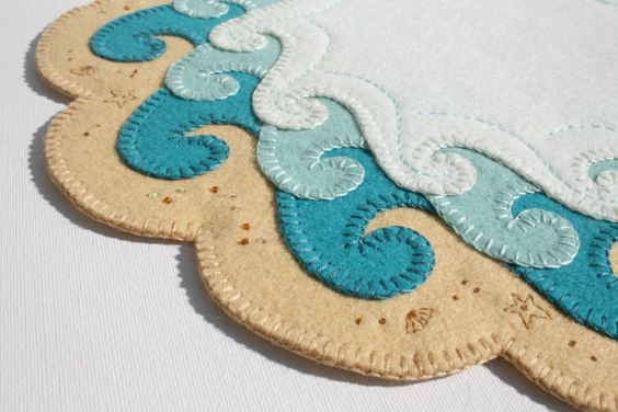 The Shore Penny Rug Hand Embroidery Seaside Art Limited