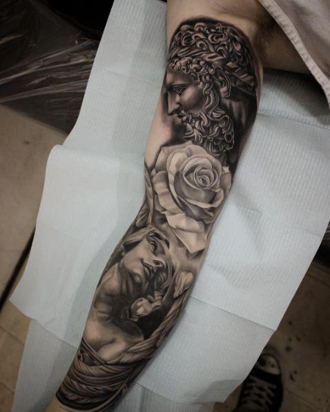Greek Mythology Full Sleeve Tattoo By Shun Tattoo Full Sleeve Tattoos Sleeve Tattoos Unique Half Sleeve Tattoos