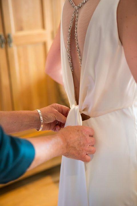 beautiful backless wedding dress detail
