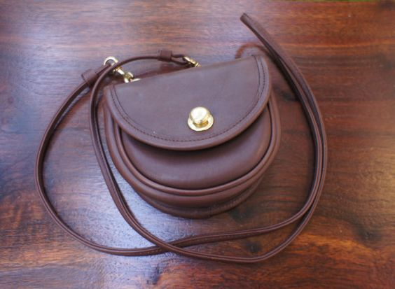 Tiny Mahogany Brown Vintage Leather Coach Bag