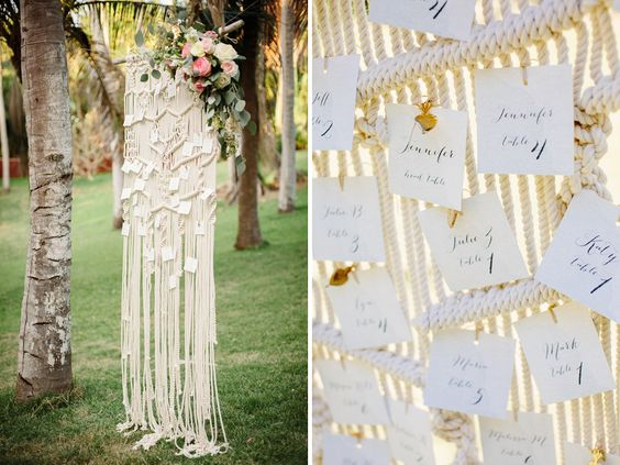 floral accent for crocheted seating chart. Tietiare Estate Wedding // Sayulita, MexicoTaryn Baxter Photographer