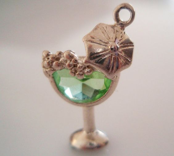 Vintage silver Cocktail Glass Gem Set Charm by TrueVintageCharms, £25.00