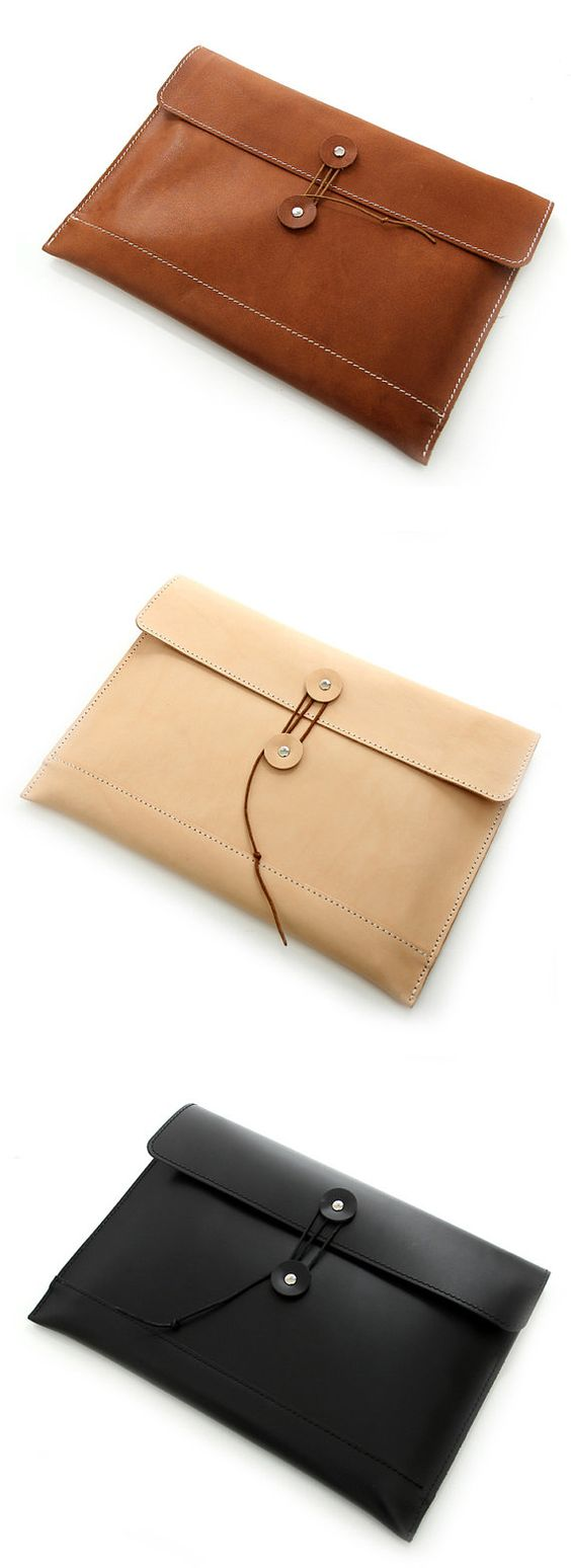 Handmade file cover vegetable tanned leather Retro by Finedigital, $65.00