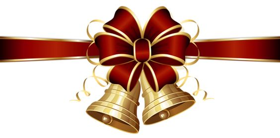 Christmas Bells and Red Bow PNG Clipart Image