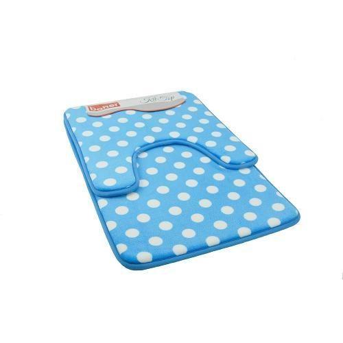 Kit Tapete Soft Touch 2 Peças Bolinha Azul