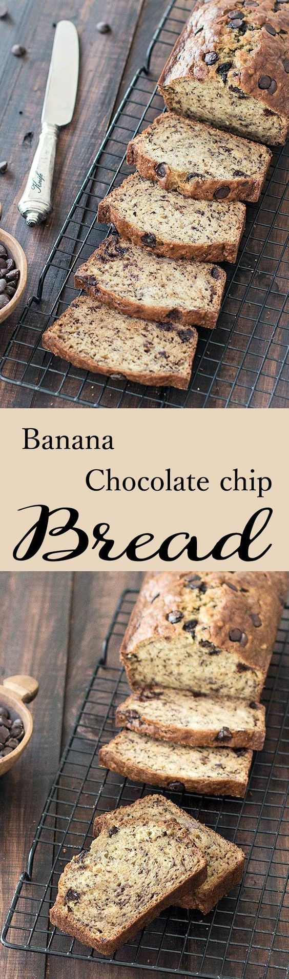 Banana Chocolate Chip Bread: so easy to make and a great way to use up overripe bananas! Moist, dense, and just sweet enough…this is the best banana bread recipe for breakfast!