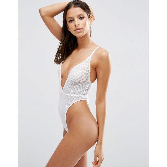 ASOS Bambi Fishnet High Leg Bodysuit ($26) ❤ liked on Polyvore featuring intimates, shapewear and white