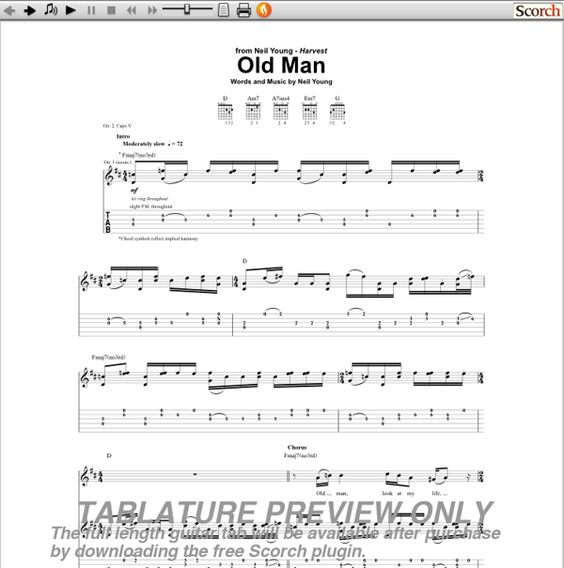 Neil Young\'s OLD MAN free chord chart for acoustic guitar - Google ...