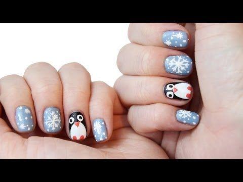 Pinguin schneeflocken nagel design
