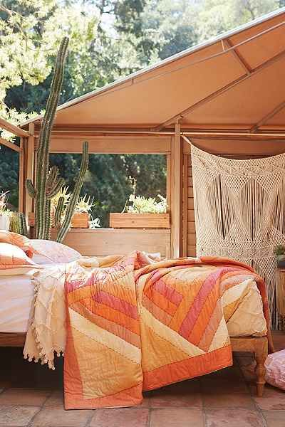 pretty orange and pink bedding