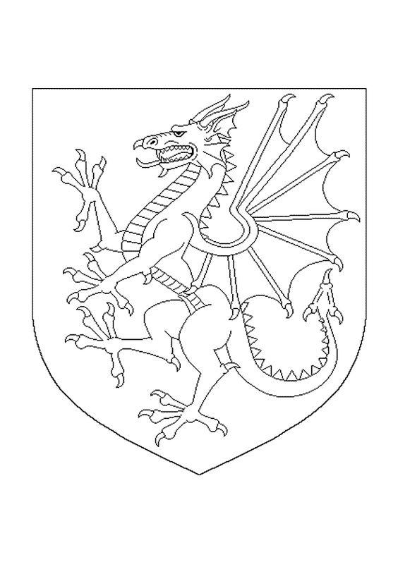 A colorier dessin d un dragon sur un tendard peinture - Dessin d un dragon ...