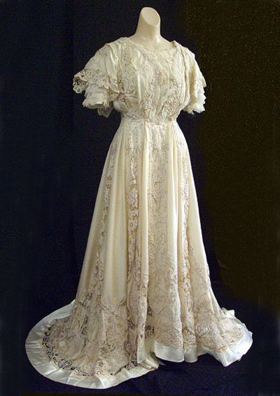 Satin and lace wedding dress, c.1905, from the Vintage Textile archives.