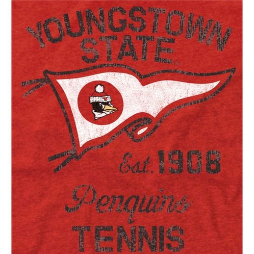 Youngstown State Penguins Pennant Sport Tri-Blend T-Shirt - Red