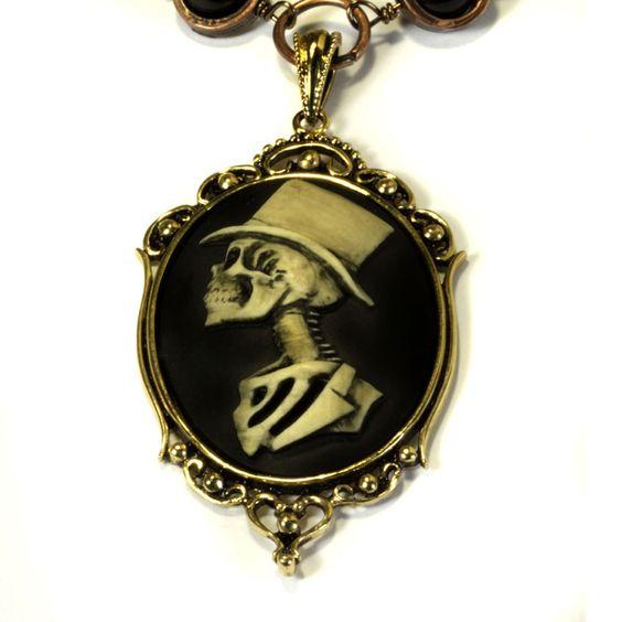 #Steampunk #Goth #Jewelry - Necklace - Top Hat Skeleton Gentleman
