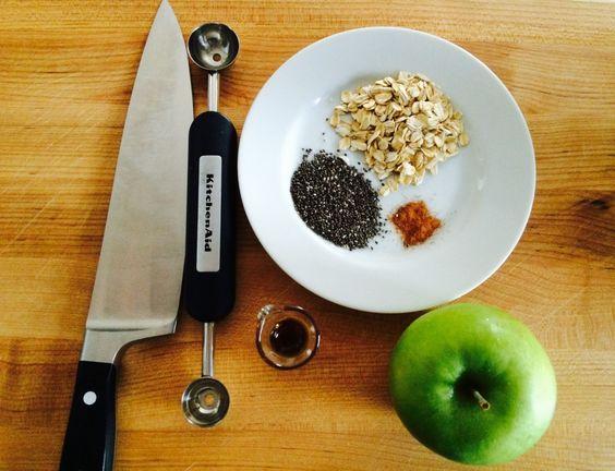 Essential tools for making Baked Apple with Oatmeal. @KitchenAid melon baller, Wusthof Chef's Knife, @OXO Mini Measuring Beaker and Boos Board