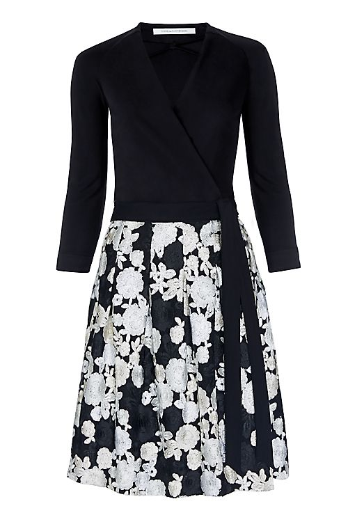 DVF Jewel Floral Embroidered Wrap Dress in Black/ Ivory Multi