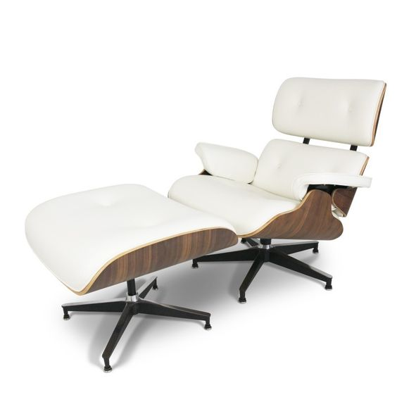 Midcentury Modern Whtie Eames Lounge Chair with ottoman