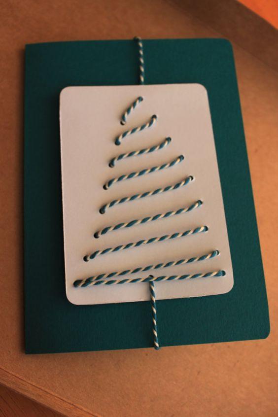 Stitched tree card teal colour by Dottypottycrafts on Etsy, £2.75: