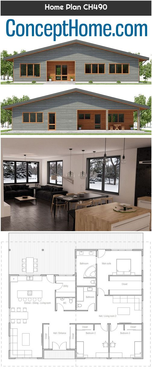 Home Plan Ch490 House Plans Small House Plan Basement House Plans