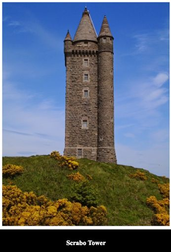 Scrabo Tower this landmark is visible from most of north Down, was built above Newtownards in 1857 as a memorial to Charles Stewart, 3rd Marquess of Londonderry who was one of the Duke of Wellington's generals. Located in Newtownards, County Down, Northern Ireland.