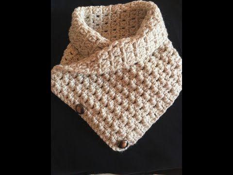 كروشية كوفية او سكارف على الرقبة ب 3 زراير سهلة و انيقه للمبتدئات Youtube Love Crochet Crochet Cowl Crochet
