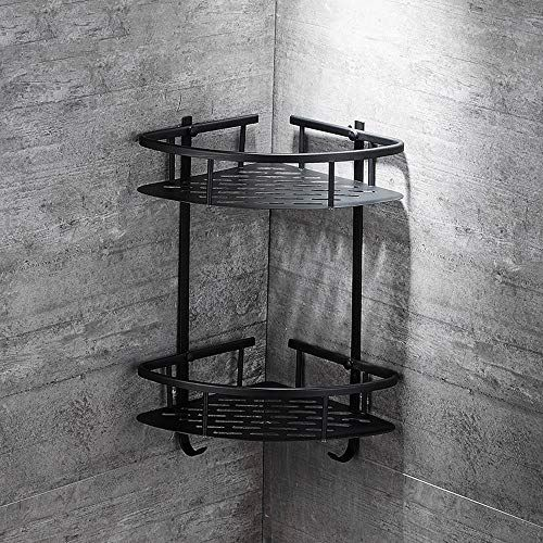 Lifxx Double Bathroom Corner Shelf Tripod Black Shower Caddies European Organize Basket Wall Mounted Storage Stand Lu Black Shower Shower Caddy Baskets On Wall