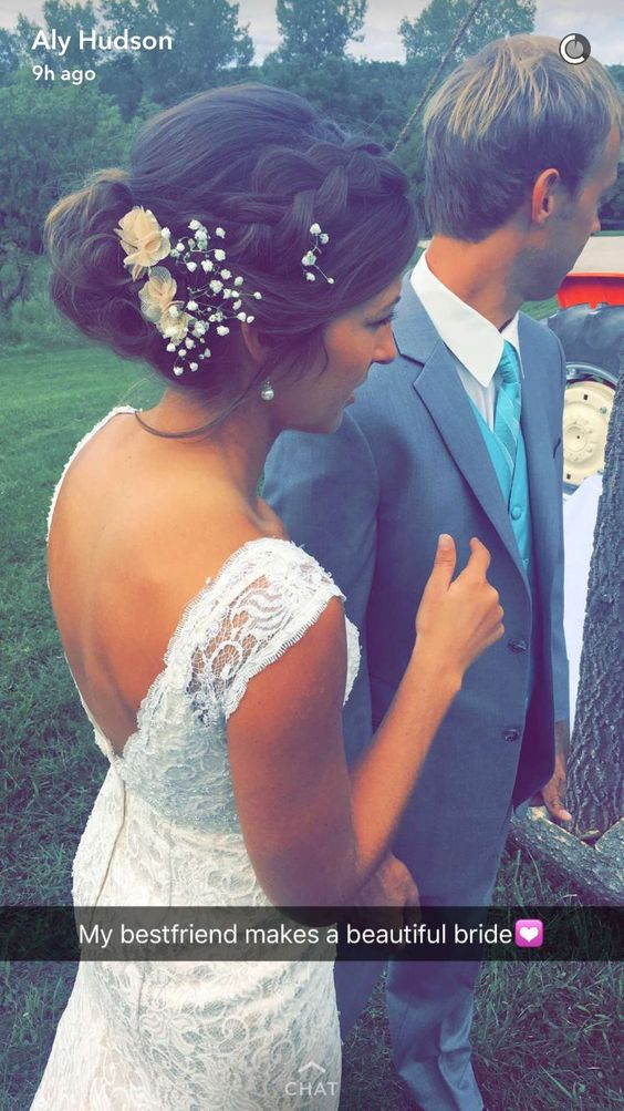 Antique lace dress for country wedding. Braided up do with baby's breath and…